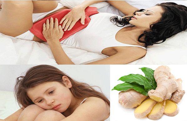 Uống nước gừng ấm có thể giúp chị em giảm cơn đau bụng ngày kinh nguyệt
