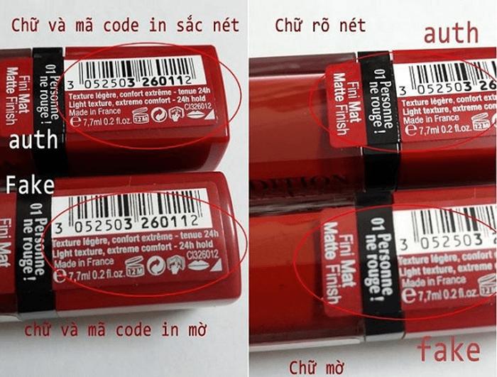 Cách nhận biết son Bourjois thật - giả qua mã code
