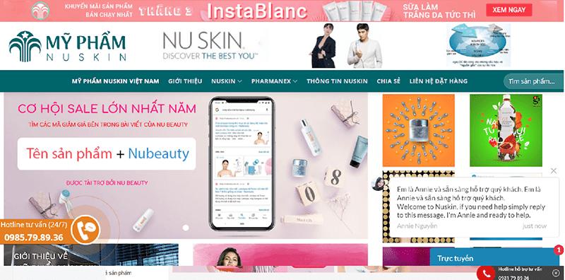 Myphamnuskin.vn là một trang của nhà phân phối của Nuskin